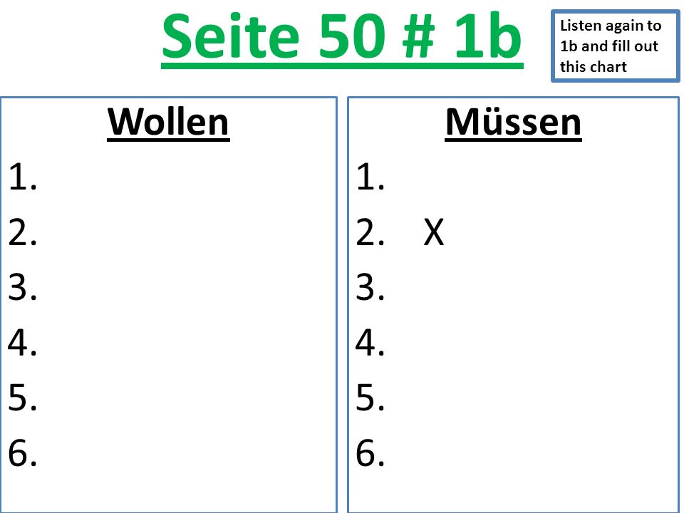 Seite 50 # 1b Wollen 1. 2. 3. 4. 5. 6. Müssen 1. 2.X 3. 4. 5. 6. Listen again to 1b and fill out this chart