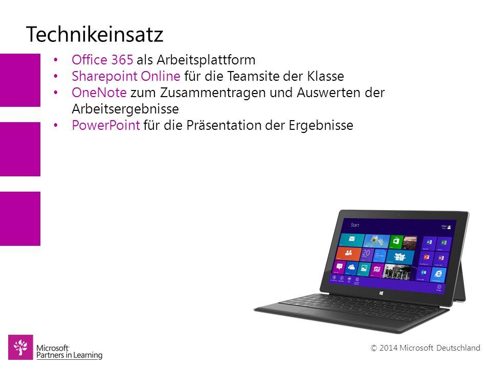 © 2014 Microsoft Deutschland Technikeinsatz Office 365 als Arbeitsplattform Sharepoint Online für die Teamsite der Klasse OneNote zum Zusammentragen und Auswerten der Arbeitsergebnisse PowerPoint für die Präsentation der Ergebnisse