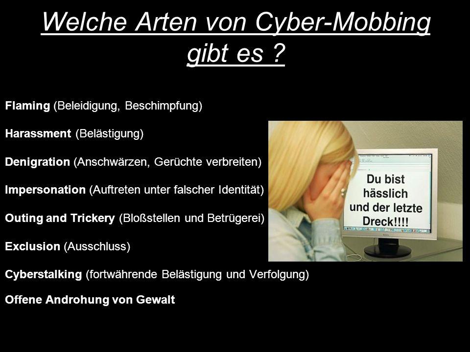 Welche Arten von Cyber-Mobbing gibt es .