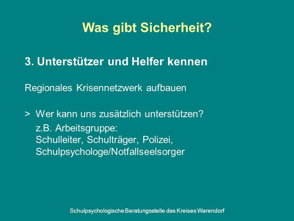 Schulpsychologische Beratungsstelle des Kreises Warendorf Was gibt Sicherheit? 3. Unterstützer und Helfer kennen Regionales Krisennetzwerk aufbauen >