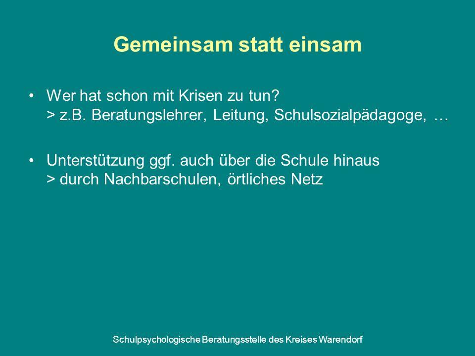 Schulpsychologische Beratungsstelle des Kreises Warendorf Gemeinsam statt einsam Wer hat schon mit Krisen zu tun.