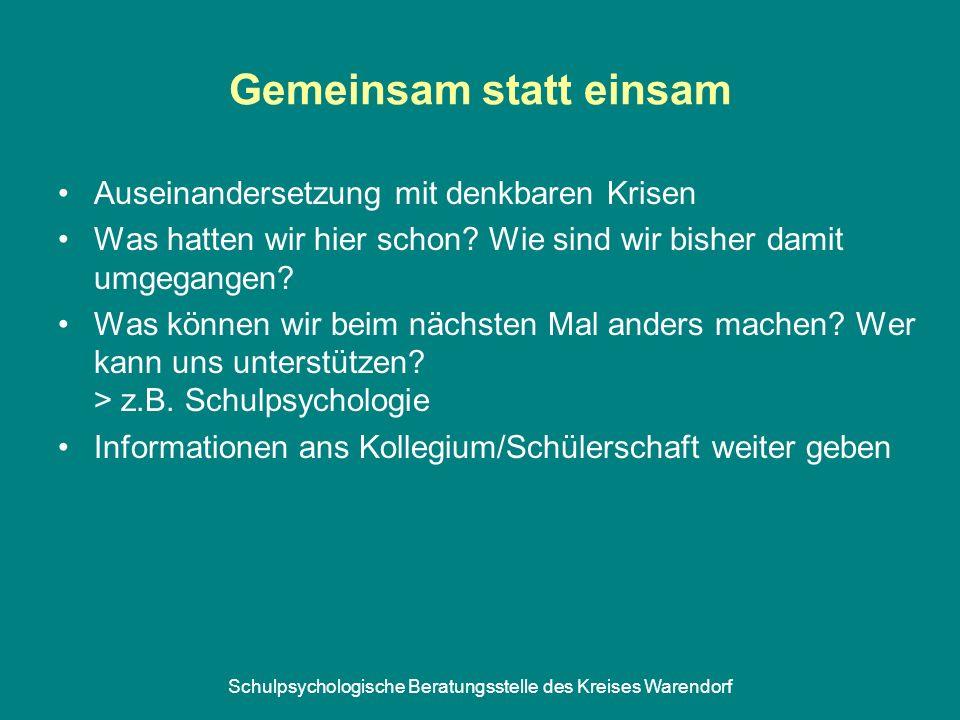 Schulpsychologische Beratungsstelle des Kreises Warendorf Gemeinsam statt einsam Auseinandersetzung mit denkbaren Krisen Was hatten wir hier schon.