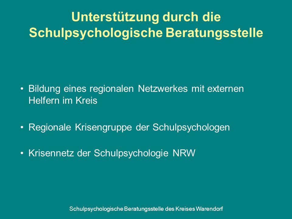 Schulpsychologische Beratungsstelle des Kreises Warendorf Unterstützung durch die Schulpsychologische Beratungsstelle Bildung eines regionalen Netzwer