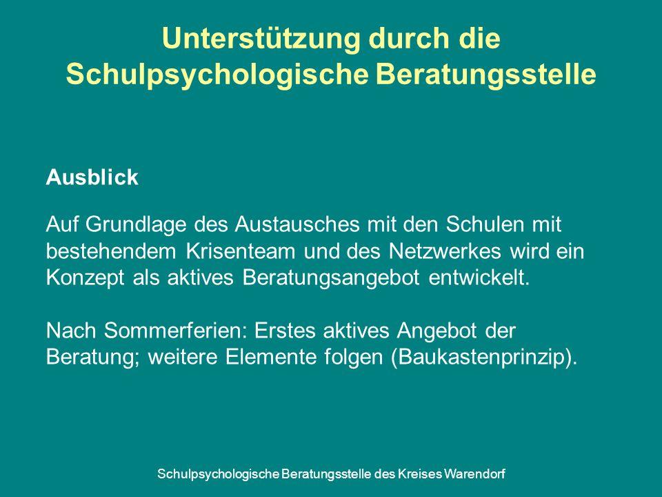 Schulpsychologische Beratungsstelle des Kreises Warendorf Unterstützung durch die Schulpsychologische Beratungsstelle Auf Grundlage des Austausches mi