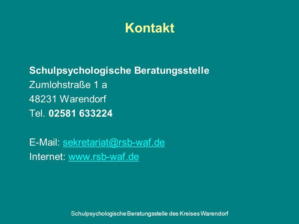Schulpsychologische Beratungsstelle des Kreises Warendorf Kontakt Schulpsychologische Beratungsstelle Zumlohstraße 1 a 48231 Warendorf Tel. 02581 6332