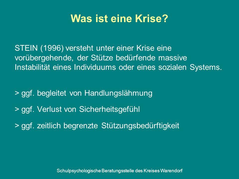 Schulpsychologische Beratungsstelle des Kreises Warendorf Was ist eine Krise? STEIN (1996) versteht unter einer Krise eine vorübergehende, der Stütze