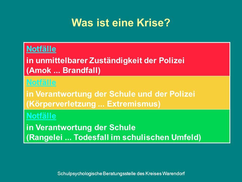 Schulpsychologische Beratungsstelle des Kreises Warendorf Was ist eine Krise? Notfälle in unmittelbarer Zuständigkeit der Polizei (Amok... Brandfall)