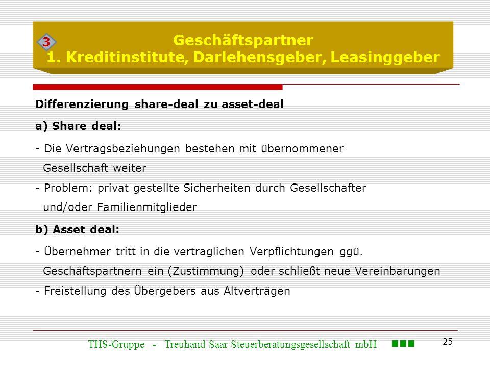 25 Geschäftspartner 1. Kreditinstitute, Darlehensgeber, Leasinggeber Differenzierung share-deal zu asset-deal a) Share deal: - Die Vertragsbeziehungen