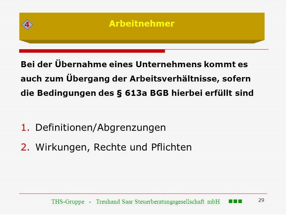 29 Arbeitnehmer Bei der Übernahme eines Unternehmens kommt es auch zum Übergang der Arbeitsverhältnisse, sofern die Bedingungen des § 613a BGB hierbei erfüllt sind 1.Definitionen/Abgrenzungen 2.Wirkungen, Rechte und Pflichten 4 THS-Gruppe - Treuhand Saar Steuerberatungsgesellschaft mbH