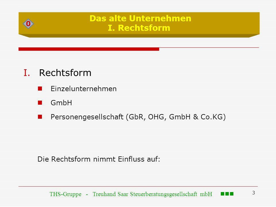 3 Das alte Unternehmen I. Rechtsform I.Rechtsform Einzelunternehmen GmbH Personengesellschaft (GbR, OHG, GmbH & Co.KG) Die Rechtsform nimmt Einfluss a