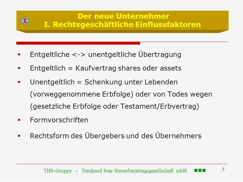 7  Entgeltliche unentgeltliche Übertragung  Entgeltlich = Kaufvertrag shares oder assets  Unentgeltlich = Schenkung unter Lebenden (vorweggenommene