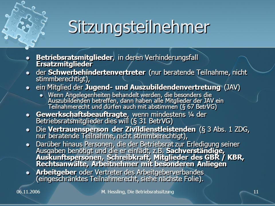 06.11.2006M. Hessling, Die Betriebsratssitzung11 Sitzungsteilnehmer Betriebsratsmitglieder, in deren Verhinderungsfall Ersatzmitglieder der Schwerbehi