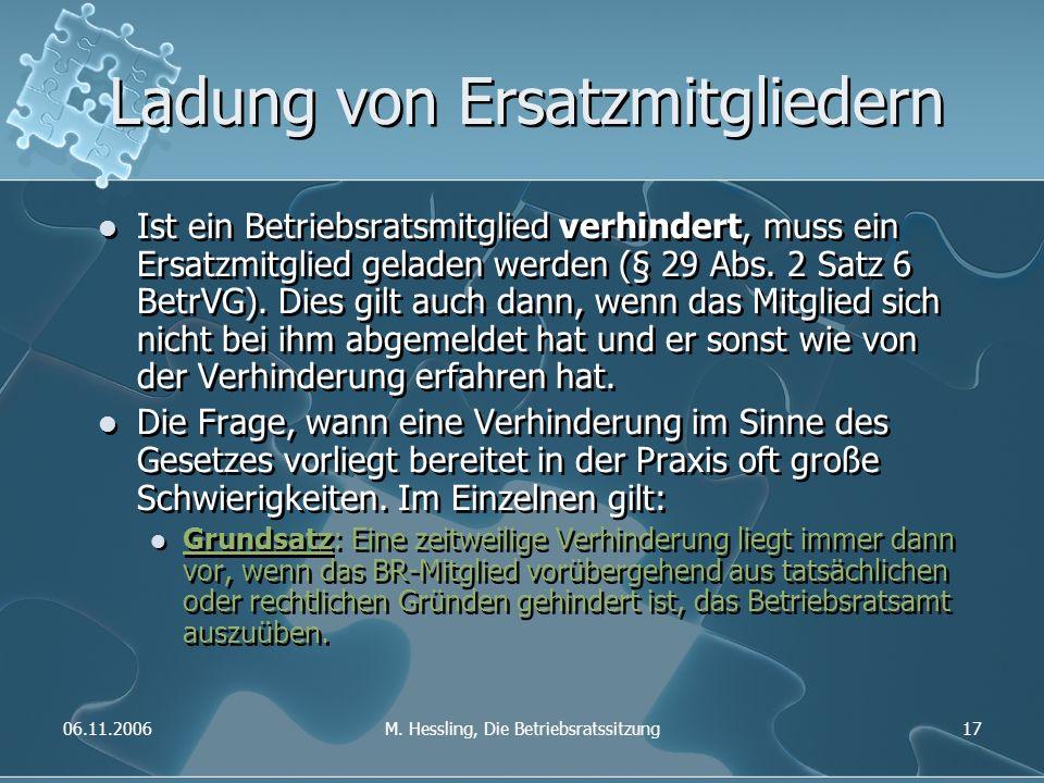 06.11.2006M. Hessling, Die Betriebsratssitzung17 Ladung von Ersatzmitgliedern Ist ein Betriebsratsmitglied verhindert, muss ein Ersatzmitglied geladen