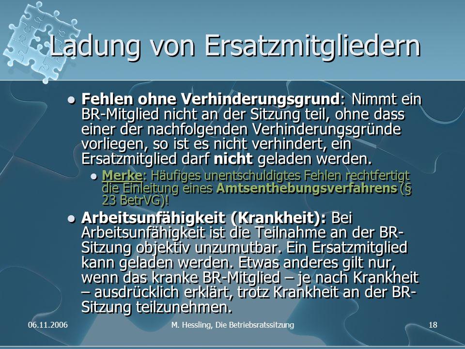 06.11.2006M. Hessling, Die Betriebsratssitzung18 Ladung von Ersatzmitgliedern Fehlen ohne Verhinderungsgrund: Nimmt ein BR-Mitglied nicht an der Sitzu