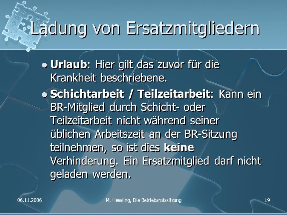 06.11.2006M. Hessling, Die Betriebsratssitzung19 Ladung von Ersatzmitgliedern Urlaub: Hier gilt das zuvor für die Krankheit beschriebene. Schichtarbei