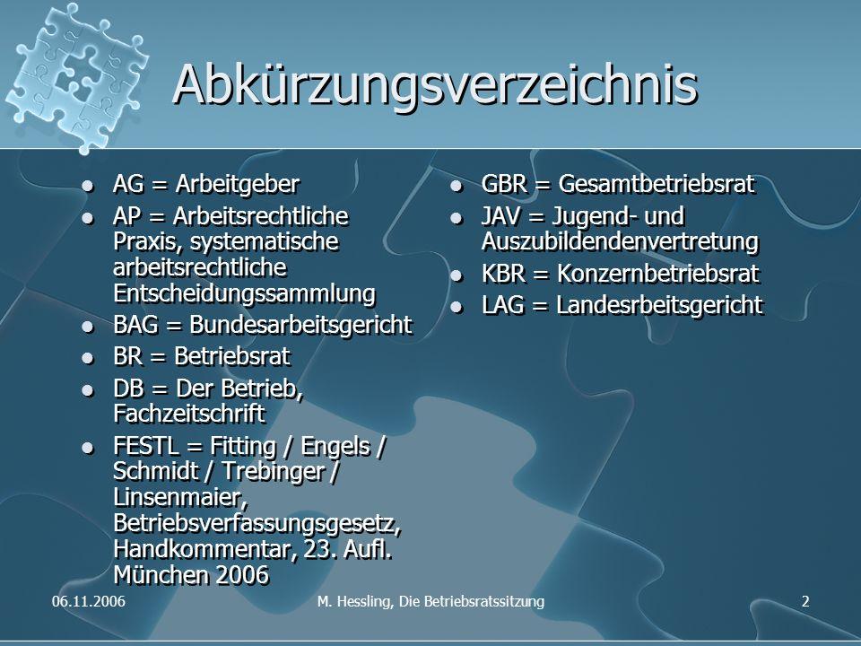 06.11.2006M. Hessling, Die Betriebsratssitzung2 Abkürzungsverzeichnis AG = Arbeitgeber AP = Arbeitsrechtliche Praxis, systematische arbeitsrechtliche