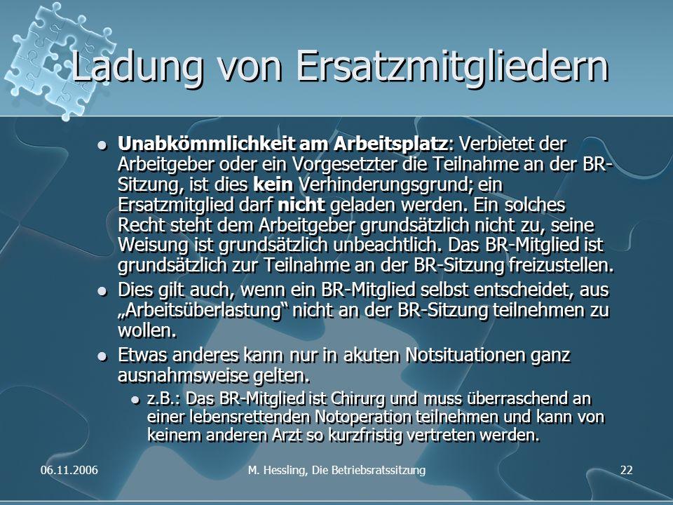 06.11.2006M. Hessling, Die Betriebsratssitzung22 Ladung von Ersatzmitgliedern Unabkömmlichkeit am Arbeitsplatz: Verbietet der Arbeitgeber oder ein Vor