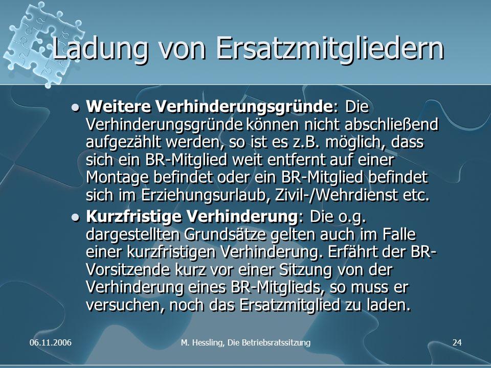06.11.2006M. Hessling, Die Betriebsratssitzung24 Ladung von Ersatzmitgliedern Weitere Verhinderungsgründe: Die Verhinderungsgründe können nicht abschl