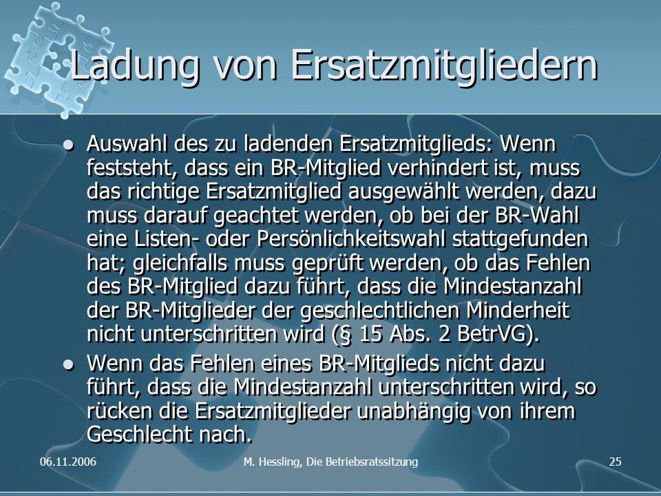 06.11.2006M. Hessling, Die Betriebsratssitzung25 Ladung von Ersatzmitgliedern Auswahl des zu ladenden Ersatzmitglieds: Wenn feststeht, dass ein BR-Mit