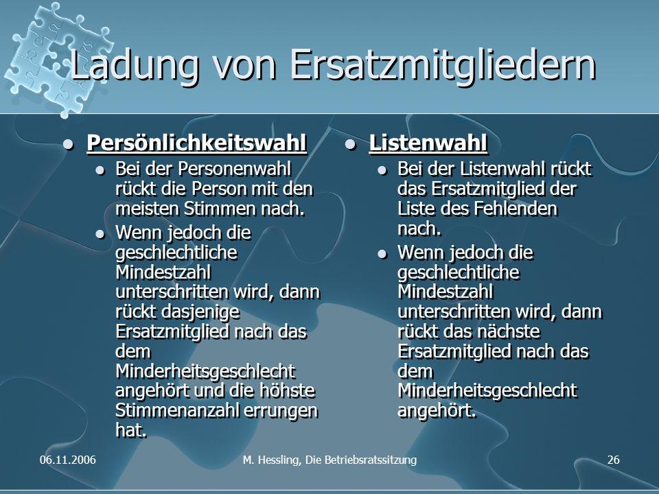 06.11.2006M. Hessling, Die Betriebsratssitzung26 Ladung von Ersatzmitgliedern Persönlichkeitswahl Bei der Personenwahl rückt die Person mit den meiste
