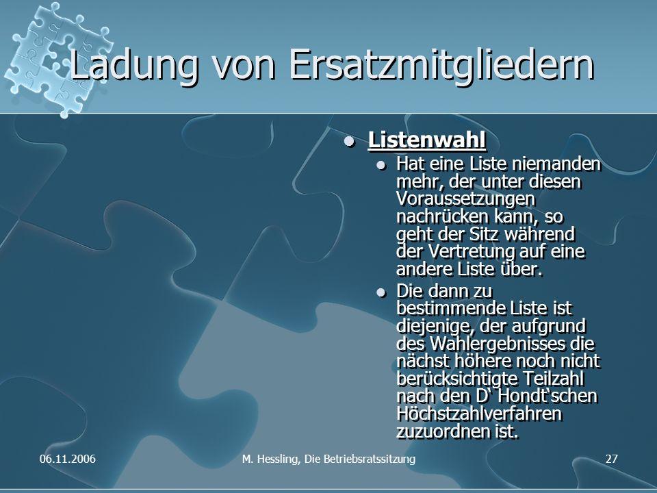 06.11.2006M. Hessling, Die Betriebsratssitzung27 Ladung von Ersatzmitgliedern Listenwahl Hat eine Liste niemanden mehr, der unter diesen Voraussetzung