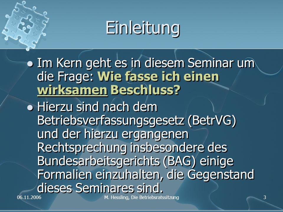06.11.2006M. Hessling, Die Betriebsratssitzung3 Einleitung Im Kern geht es in diesem Seminar um die Frage: Wie fasse ich einen wirksamen Beschluss? Hi