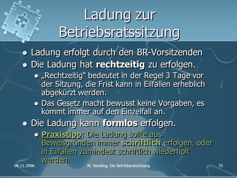 06.11.2006M. Hessling, Die Betriebsratssitzung35 Ladung zur Betriebsratssitzung Ladung erfolgt durch den BR-Vorsitzenden Die Ladung hat rechtzeitig zu