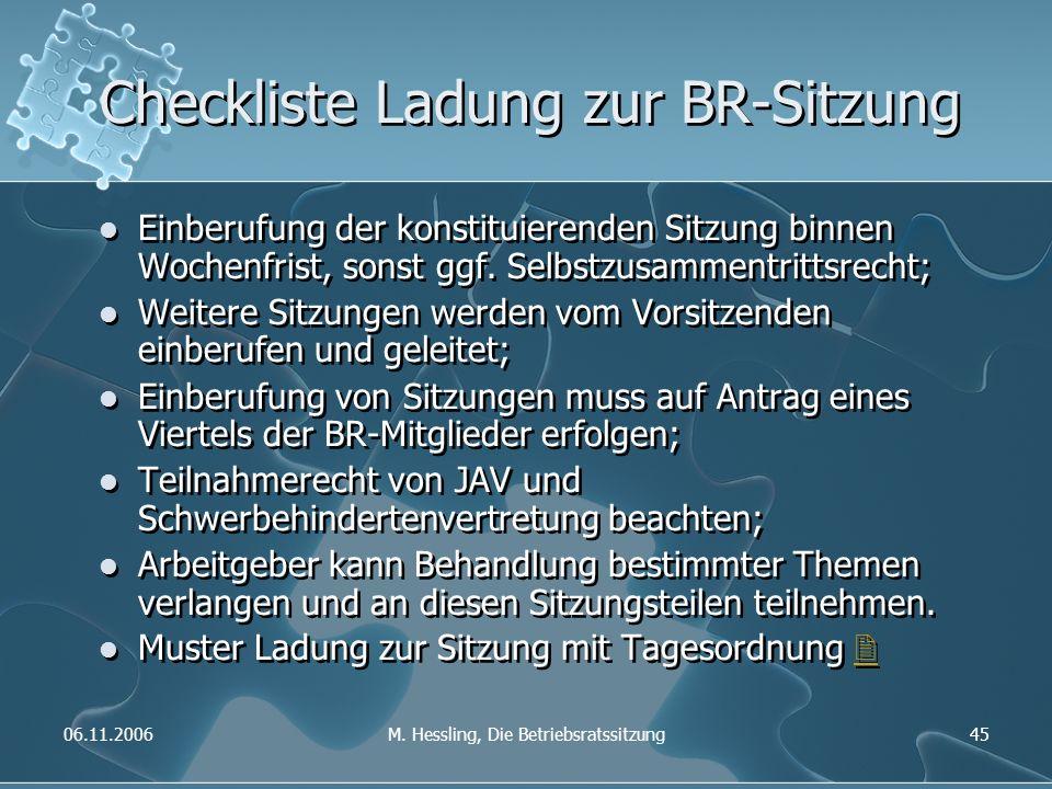 06.11.2006M. Hessling, Die Betriebsratssitzung45 Checkliste Ladung zur BR-Sitzung Einberufung der konstituierenden Sitzung binnen Wochenfrist, sonst g