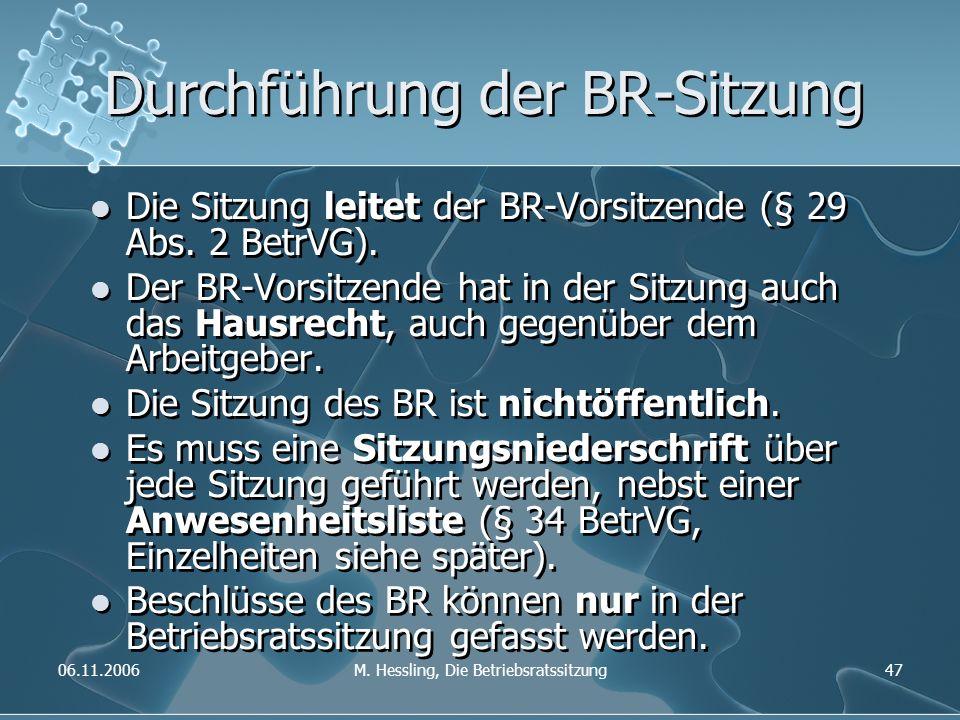 06.11.2006M. Hessling, Die Betriebsratssitzung47 Durchführung der BR-Sitzung Die Sitzung leitet der BR-Vorsitzende (§ 29 Abs. 2 BetrVG). Der BR-Vorsit