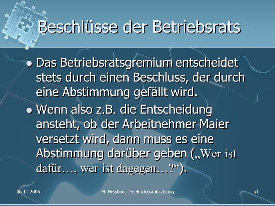06.11.2006M. Hessling, Die Betriebsratssitzung51 Beschlüsse der Betriebsrats Das Betriebsratsgremium entscheidet stets durch einen Beschluss, der durc