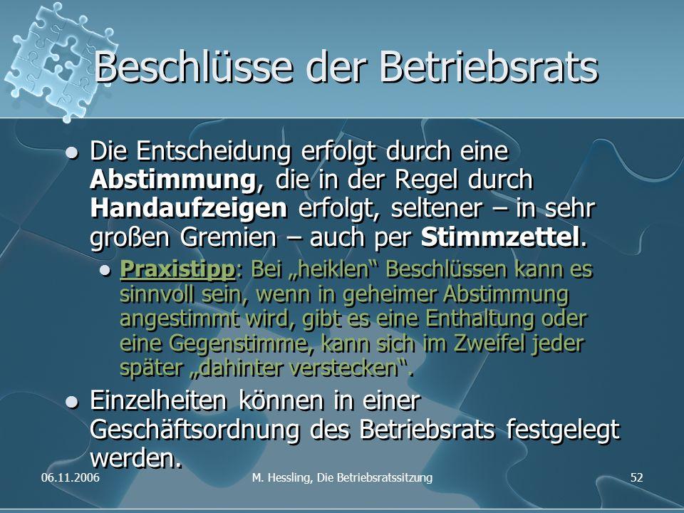 06.11.2006M. Hessling, Die Betriebsratssitzung52 Beschlüsse der Betriebsrats Die Entscheidung erfolgt durch eine Abstimmung, die in der Regel durch Ha
