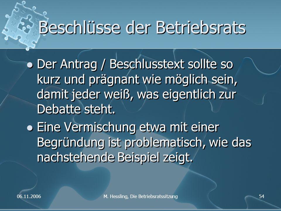 06.11.2006M. Hessling, Die Betriebsratssitzung54 Beschlüsse der Betriebsrats Der Antrag / Beschlusstext sollte so kurz und prägnant wie möglich sein,