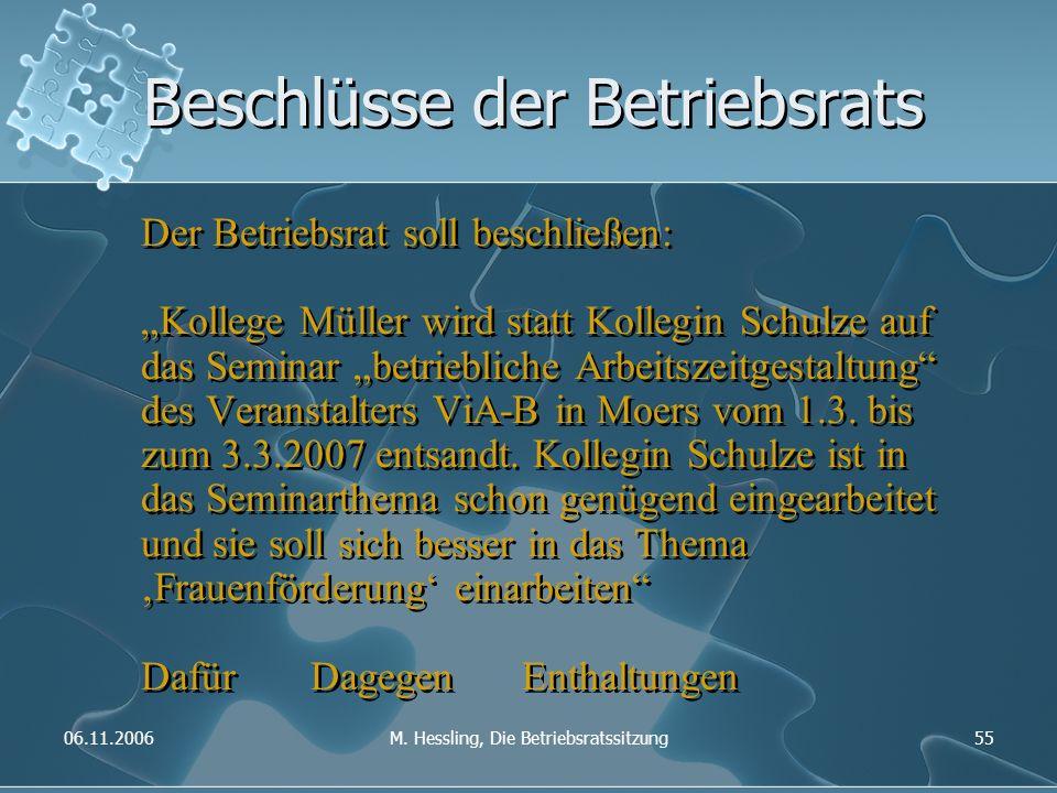"""06.11.2006M. Hessling, Die Betriebsratssitzung55 Beschlüsse der Betriebsrats Der Betriebsrat soll beschließen: """"Kollege Müller wird statt Kollegin Sch"""