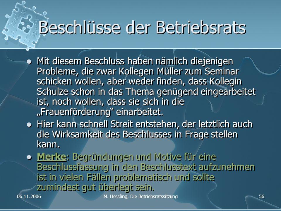 06.11.2006M. Hessling, Die Betriebsratssitzung56 Beschlüsse der Betriebsrats Mit diesem Beschluss haben nämlich diejenigen Probleme, die zwar Kollegen