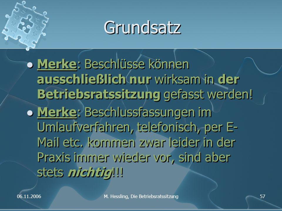 06.11.2006M. Hessling, Die Betriebsratssitzung57 Grundsatz Merke: Beschlüsse können ausschließlich nur wirksam in der Betriebsratssitzung gefasst werd