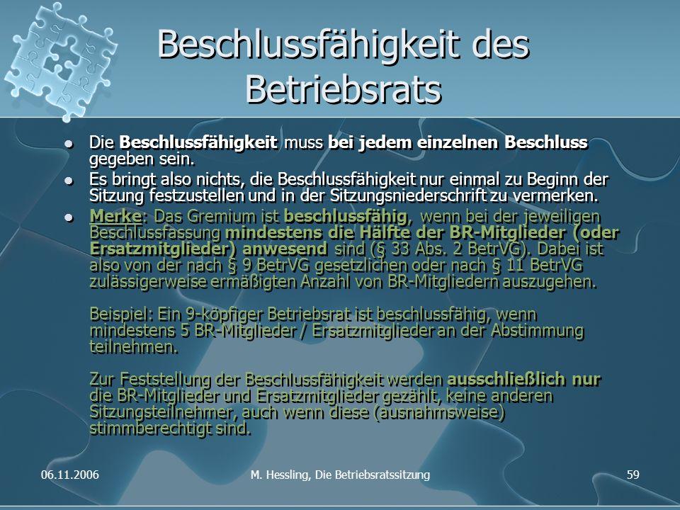 06.11.2006M. Hessling, Die Betriebsratssitzung59 Beschlussfähigkeit des Betriebsrats Die Beschlussfähigkeit muss bei jedem einzelnen Beschluss gegeben