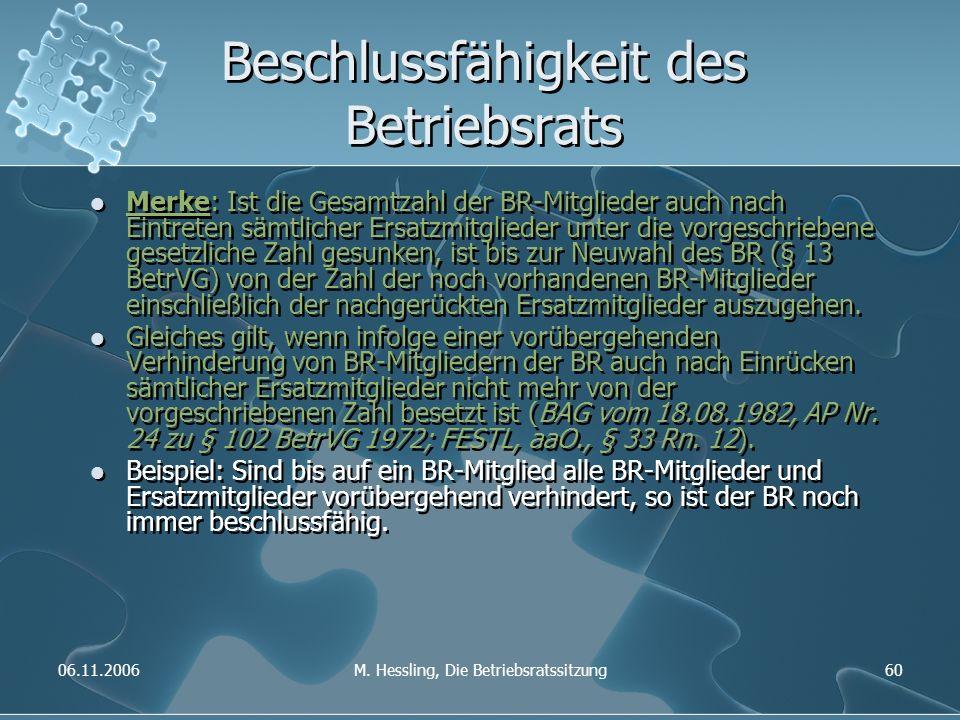 06.11.2006M. Hessling, Die Betriebsratssitzung60 Beschlussfähigkeit des Betriebsrats Merke: Ist die Gesamtzahl der BR-Mitglieder auch nach Eintreten s