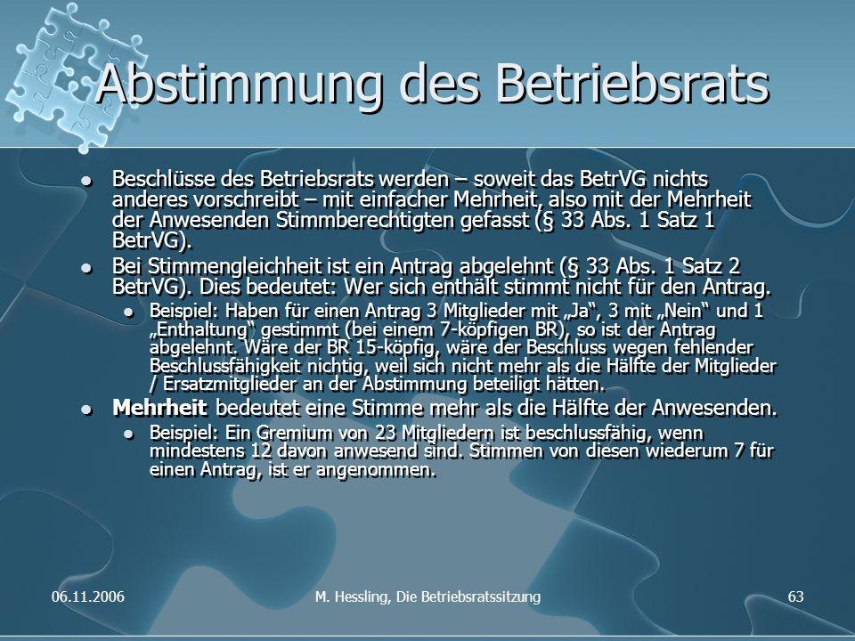 06.11.2006M. Hessling, Die Betriebsratssitzung63 Abstimmung des Betriebsrats Beschlüsse des Betriebsrats werden – soweit das BetrVG nichts anderes vor