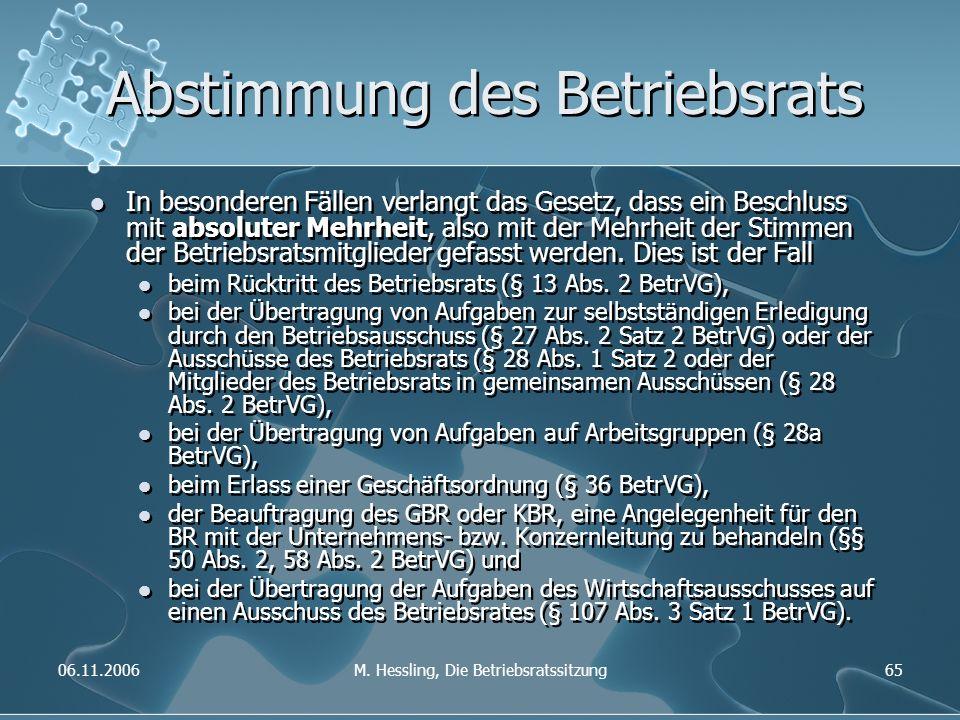 06.11.2006M. Hessling, Die Betriebsratssitzung65 Abstimmung des Betriebsrats In besonderen Fällen verlangt das Gesetz, dass ein Beschluss mit absolute