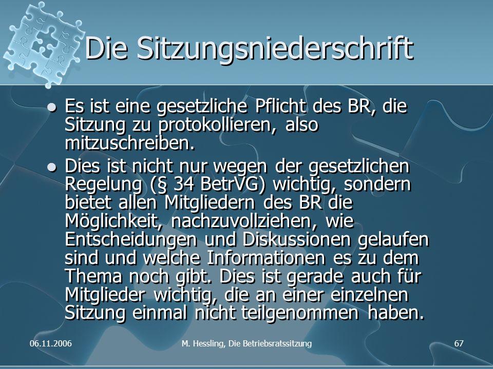 06.11.2006M. Hessling, Die Betriebsratssitzung67 Die Sitzungsniederschrift Es ist eine gesetzliche Pflicht des BR, die Sitzung zu protokollieren, also