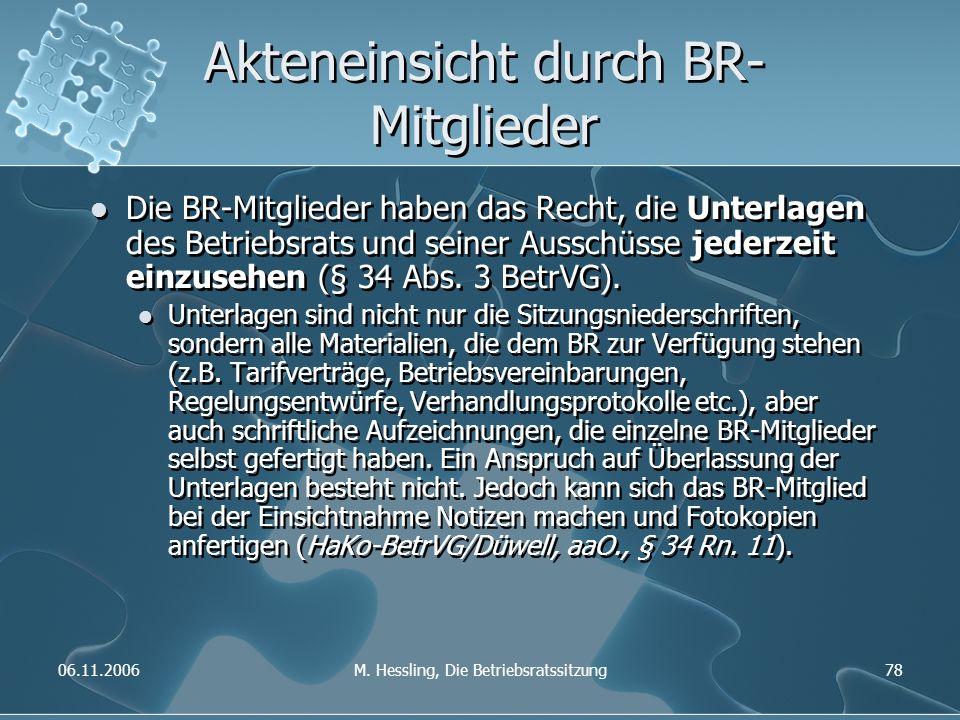 06.11.2006M. Hessling, Die Betriebsratssitzung78 Akteneinsicht durch BR- Mitglieder Die BR-Mitglieder haben das Recht, die Unterlagen des Betriebsrats