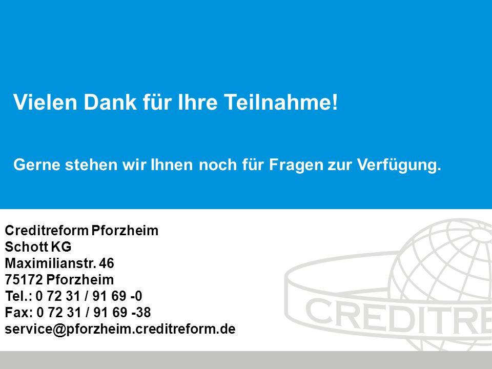 © Creditreform Pforzheim Schott KG 2010 Creditreform Pforzheim Schott KG Maximilianstr.