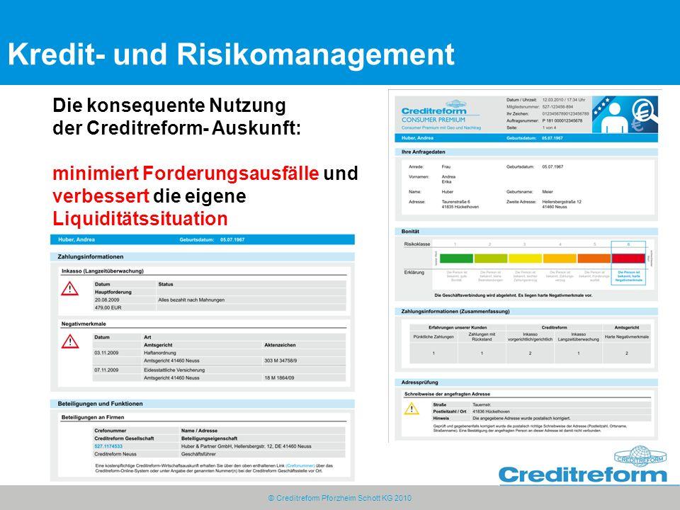 © Creditreform Pforzheim Schott KG 2010 Kredit- und Risikomanagement Die konsequente Nutzung der Creditreform- Auskunft: minimiert Forderungsausfälle und verbessert die eigene Liquiditätssituation