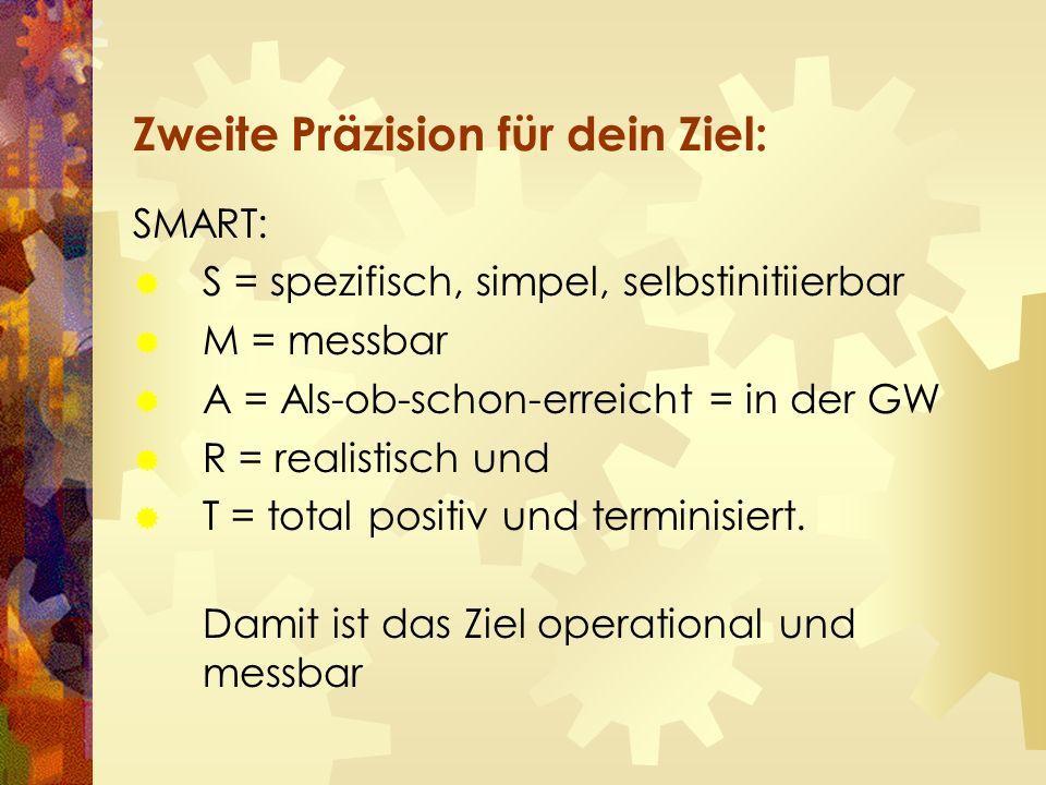 Zweite Präzision für dein Ziel: SMART:  S = spezifisch, simpel, selbstinitiierbar  M = messbar  A = Als-ob-schon-erreicht = in der GW  R = realistisch und  T = total positiv und terminisiert.