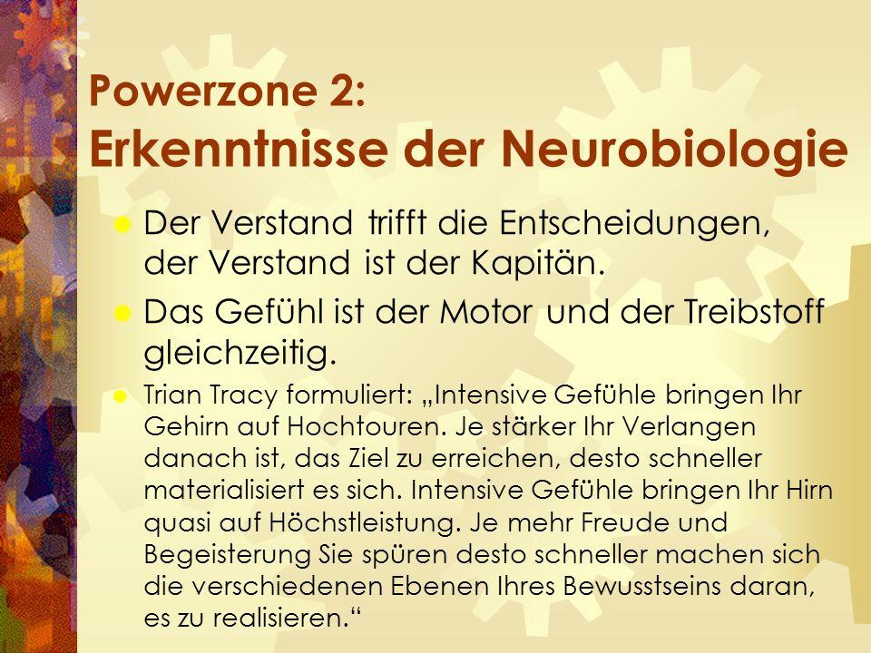 Powerzone 2: Erkenntnisse der Neurobiologie  Der Verstand trifft die Entscheidungen, der Verstand ist der Kapitän.