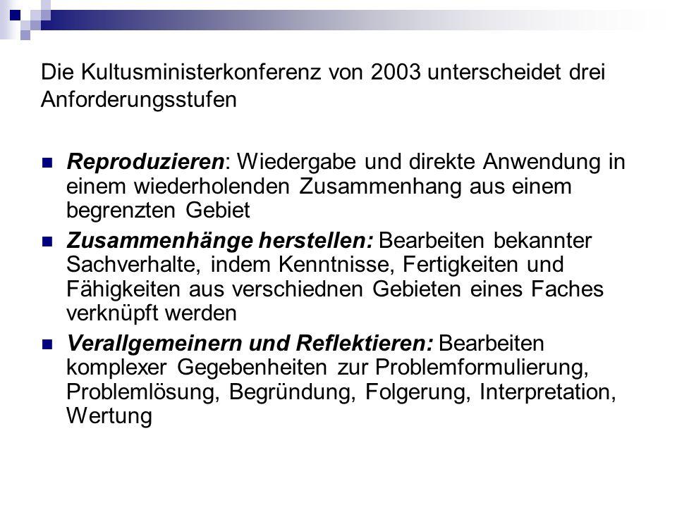Die Kultusministerkonferenz von 2003 unterscheidet drei Anforderungsstufen Reproduzieren: Wiedergabe und direkte Anwendung in einem wiederholenden Zus