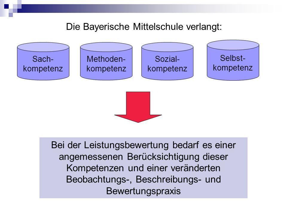 Sach- kompetenz Methoden- kompetenz Sozial- kompetenz Selbst- kompetenz Die Bayerische Mittelschule verlangt: Bei der Leistungsbewertung bedarf es einer angemessenen Berücksichtigung dieser Kompetenzen und einer veränderten Beobachtungs-, Beschreibungs- und Bewertungspraxis