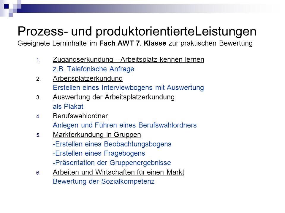 Prozess- und produktorientierteLeistungen Geeignete Lerninhalte im Fach AWT 7. Klasse zur praktischen Bewertung 1. Zugangserkundung - Arbeitsplatz ken