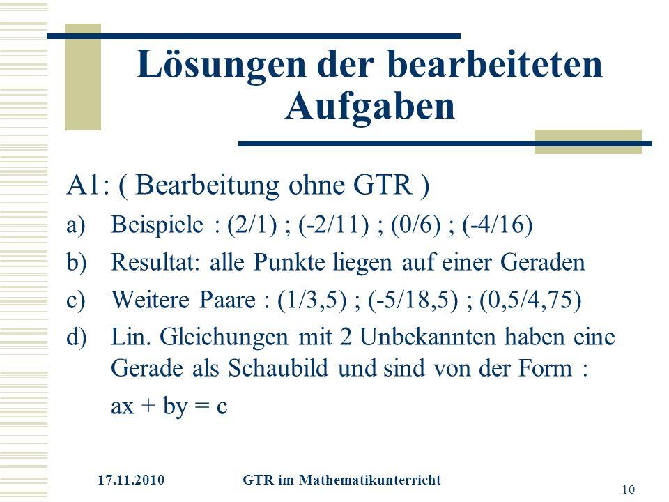 17.11.2010 GTR im Mathematikunterricht 10 Lösungen der bearbeiteten Aufgaben A1: ( Bearbeitung ohne GTR ) a)Beispiele : (2/1) ; (-2/11) ; (0/6) ; (-4/16) b)Resultat: alle Punkte liegen auf einer Geraden c)Weitere Paare : (1/3,5) ; (-5/18,5) ; (0,5/4,75) d)Lin.