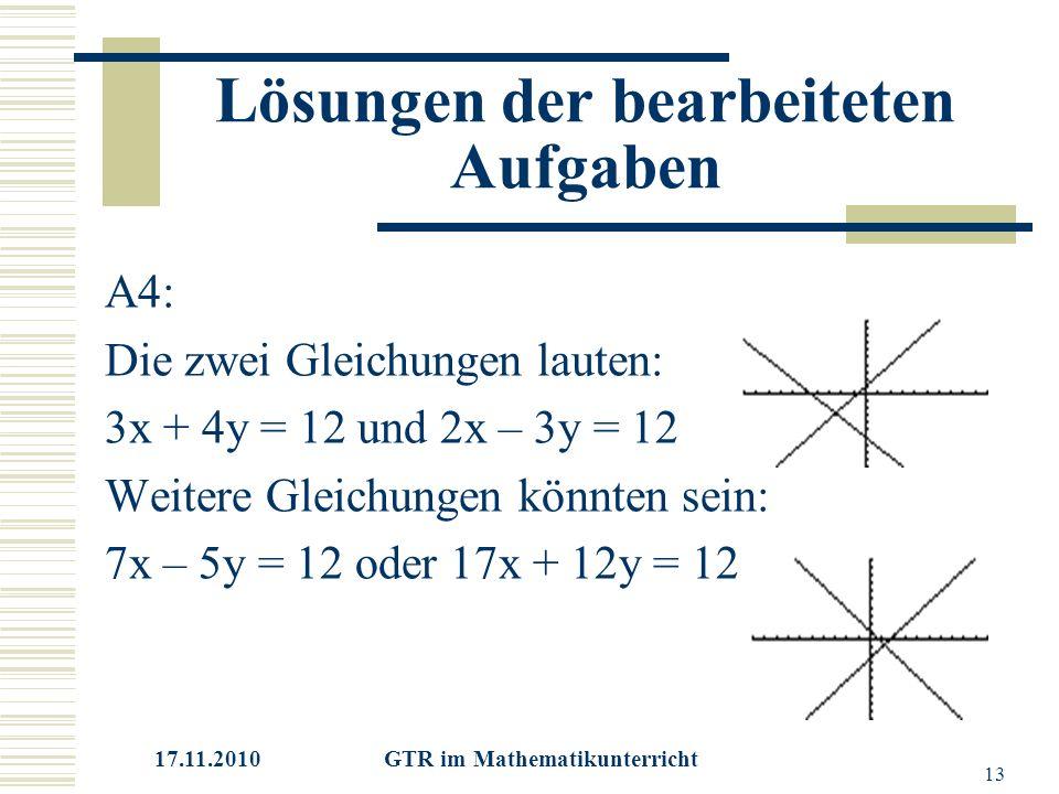 17.11.2010 GTR im Mathematikunterricht 13 Lösungen der bearbeiteten Aufgaben A4: Die zwei Gleichungen lauten: 3x + 4y = 12 und 2x – 3y = 12 Weitere Gleichungen könnten sein: 7x – 5y = 12 oder 17x + 12y = 12